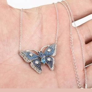 Deep blue sterling silver butterfly necklace